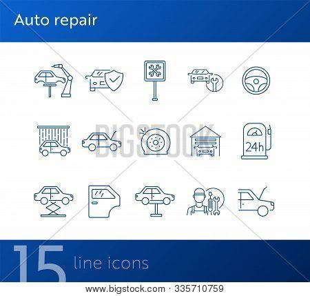 Auto Repair Line Icons. Set Of Line Icons. Tyre, Auto Service, Wheel. Car Repair Concept. Vector Ill