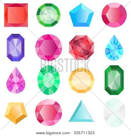 Gems Isolated On White Background. Jewels Set, Gems And Diamonds Icons Isolated, Different Colors Fl