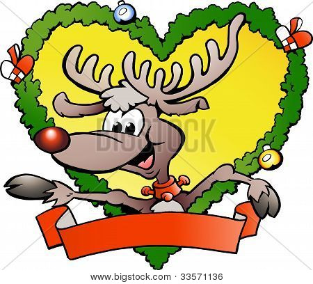 Hand-drawn Vector Illustration Of An Happy Christmas Reindeer