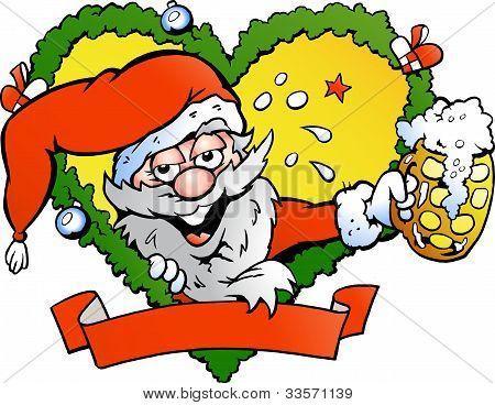 Hand-drawn Vector Illustration Of An Drunk Santa
