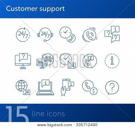 Customer Support Line Icon Set. Telephone, Computer, Speech Bubble With Question Mark, Call Center O