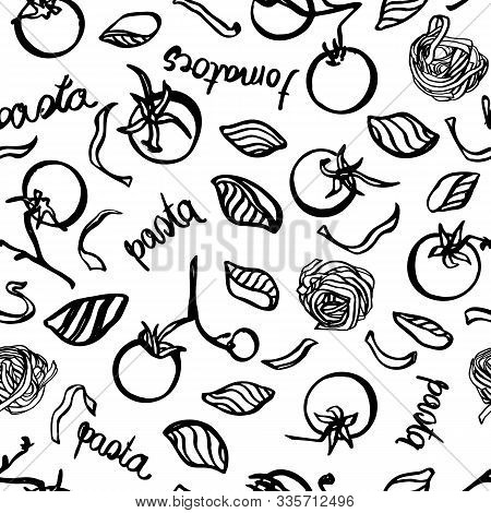Vector Homemade Delicious Hand Drawn Noodle Pattern Withtomatoe And Typography. Yummy Design For Res
