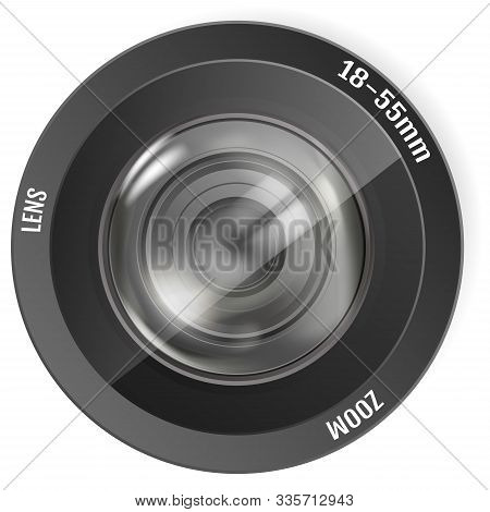 Modern Realistic Photo Lens. Photo Camera Lens