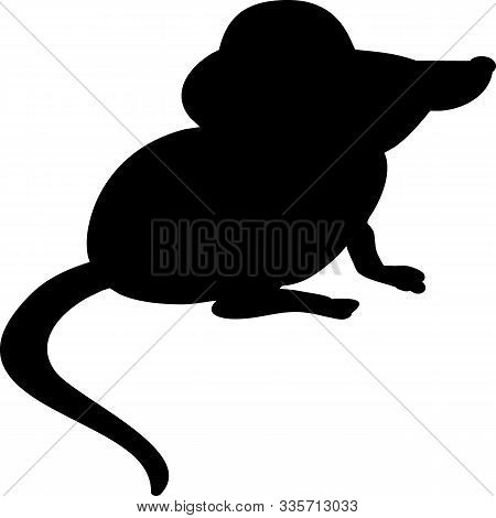 Black Mouse On A White Background. Symbol Of 2020. Drawing