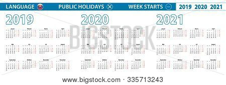 Simple Calendar Template In Slovak For 2019, 2020, 2021 Years. Week Starts From Monday. Vector Illus