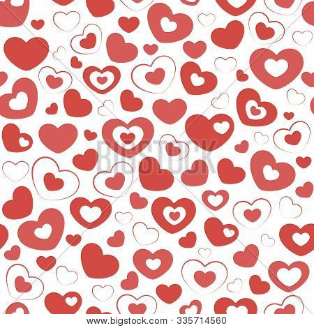 Lots Of Red Beautiful Hearts On A White Background