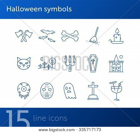 Halloween Symbols Icons. Grave, Vampire, Crossed Axes. Halloween Concept. Vector Illustration Can Be