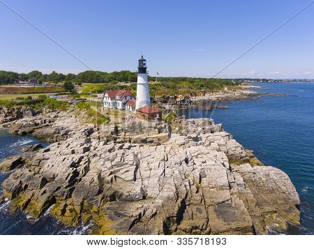 Portland Head Lighthouse Aerial View In Summer, Cape Elizabeth, Maine, Me, Usa. This Lighthouse Was