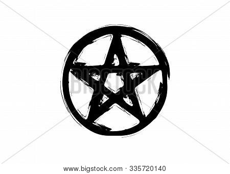 Pentagram Occult Symbol. Wiccan Sigil Pentacle Esoteric Brush Grunge Style. Vector Isolated On White