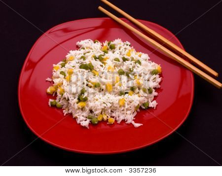Rice On A Red Plate
