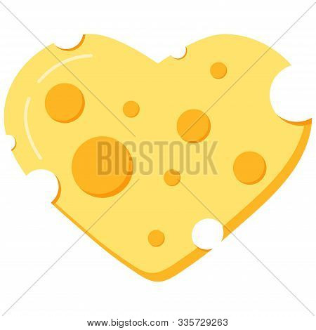 Heart Shape Cheese Vector Icon Isolated On White Background. Love Cheese Concept. Slice Of Yellow De
