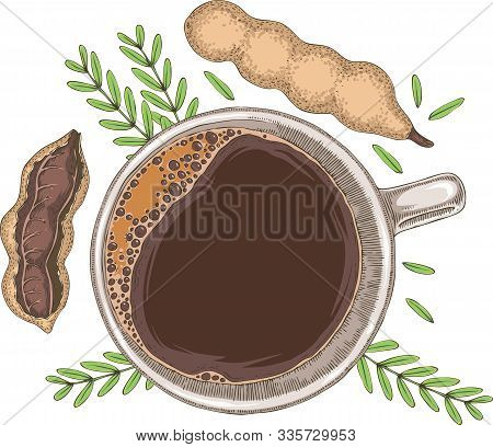 Ripe Tamarind In Cross Section And Whole With Green Branch And Drink In White Cup On A White Backgro