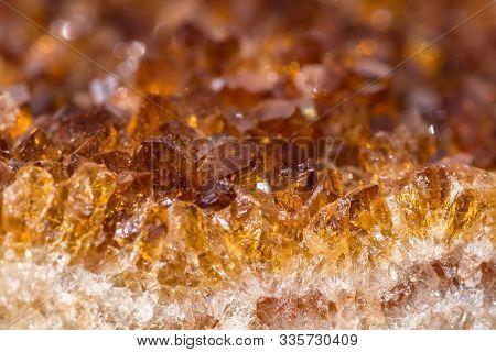 Citrine Mineral Close Up. Gemstone Luxury Background.