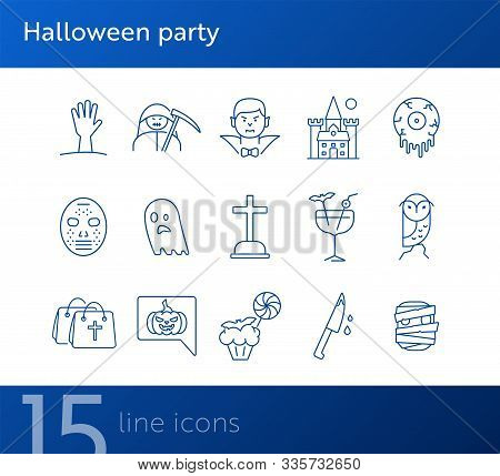 Halloween Party Icons. Cocktail, Knife With Blood, Creepy Muffin. Halloween Concept. Vector Illustra