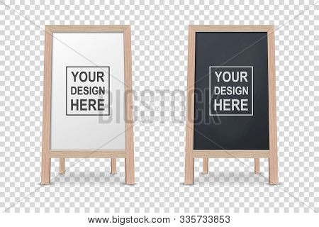 Vector 3d Realistic Blank White And Black Wooden Board For Restaurant Menu Icon Set Closeup Isolated