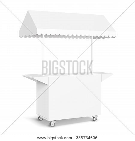 White Pos Poi Blank Empty Retail Stand Stall Mobile Bar Display With Roof, Canopy, Banner. Fast Food