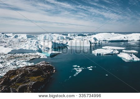 Icebergs Drone Aerial Image Top View - Climate Change And Global Warming. Icebergs From Melting Glac