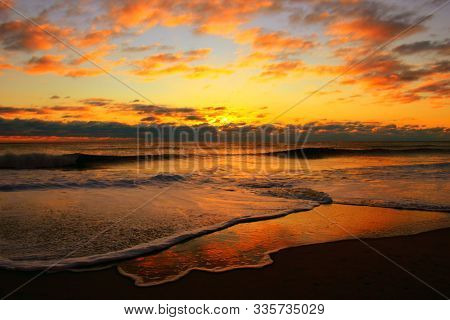 In Images Colorful Dawn Over The Sea. Nature Composition.