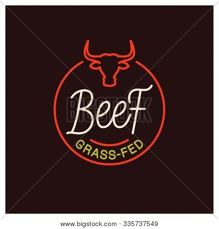 Beef Logo. Round Linear Of Grass Fed Beef On Black