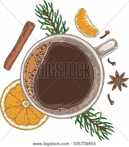 Christmas Coffee With Oranges, Tangerines, Spices And Fir Branches