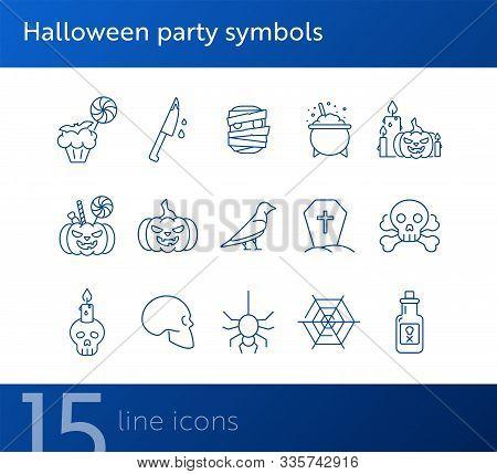 Halloween Party Symbols Icons. Jack O Lantern, Spider, Net. Halloween Concept. Vector Illustration C
