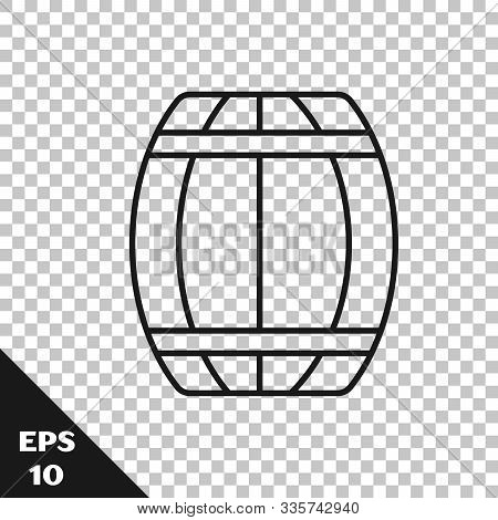 Black Line Wooden Barrel Icon Isolated On Transparent Background. Alcohol Barrel, Drink Container, W