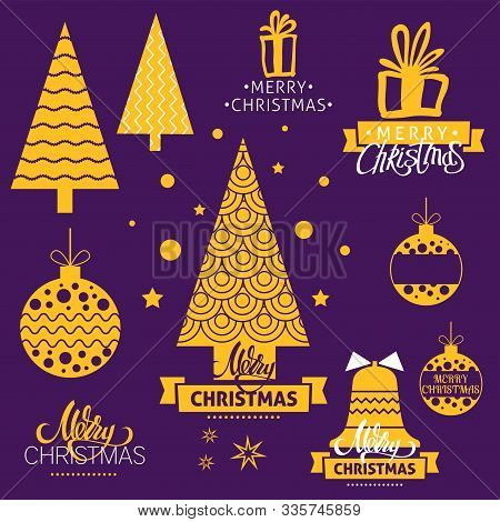 A Vector Christmas Icons Set. Merry Christmas Lettering With Christmas Trees, Bells And Decorative B
