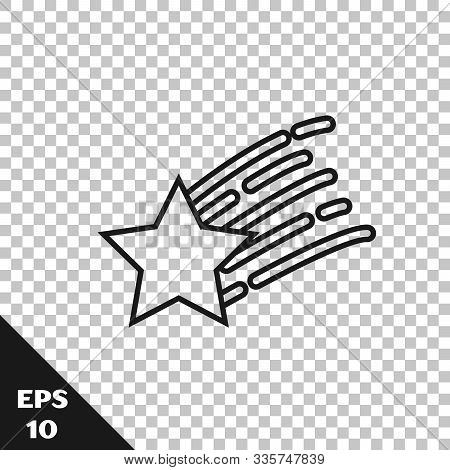 Black Line Falling Star Icon Isolated On Transparent Background. Shooting Star With Star Trail. Mete