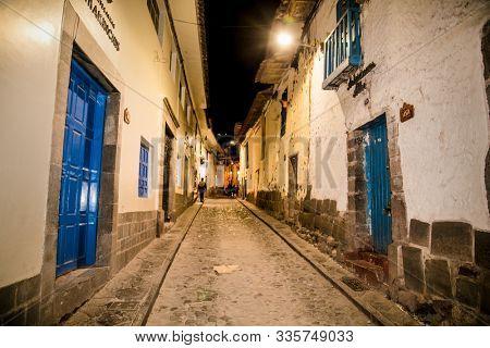 Cusco, Peru - Jan 6, 2019: Historic Colonial Buildings at Night in Cusco, Peru, South America.