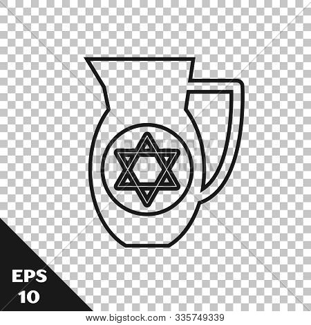 Black Line Decanter With Star Of David Icon Isolated On Transparent Background. Pottery Jug. Organic