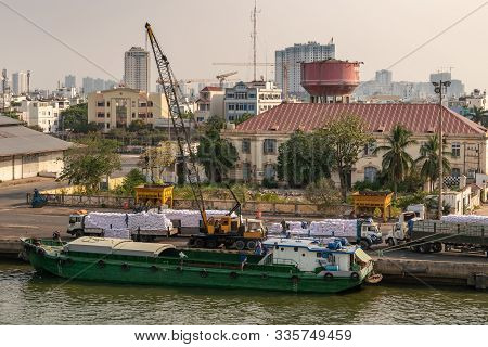 Ho Chi Minh City, Vietnam - March 13, 2019: Downtown Port On Song Sai Gon River At Sunset. Historic