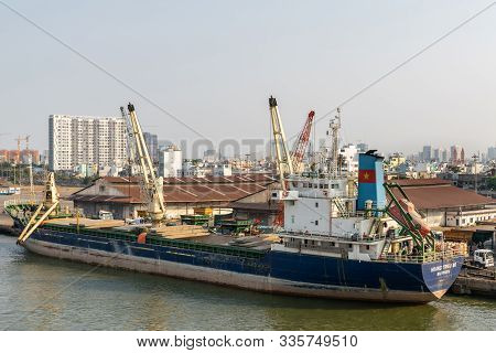 Ho Chi Minh City, Vietnam - March 13, 2019: Downtown Port On Song Sai Gon River At Sunset. Huang Tri