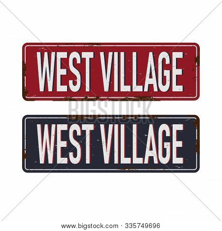 West Village New York Manhattan Travel Illustration Icons Of The City Retro Style Rusty Sign Design