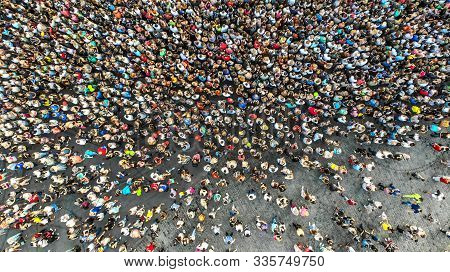 Aerial. Interested Crowd Of People In One Place. Top View From Drone.