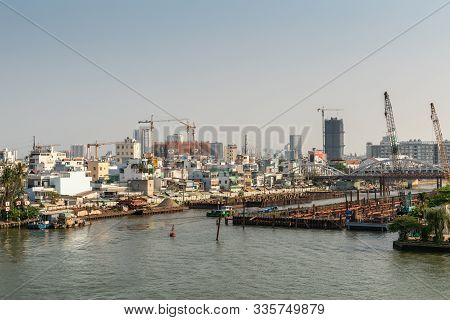 Ho Chi Minh City, Vietnam - March 13, 2019: Downtown Port On Song Sai Gon River At Sunset. Where Ken