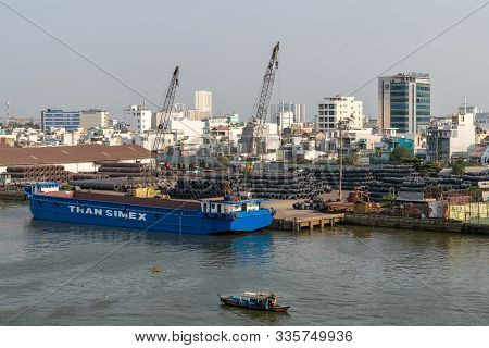 Ho Chi Minh City, Vietnam - March 13, 2019: Downtown Port On Song Sai Gon River At Sunset. Blue Tran