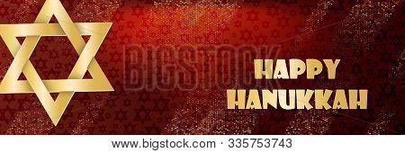 Jewish Holiday Hanukkah Design With Star Of David. Traditional Chanukah Symbols Isolated On Dark Red