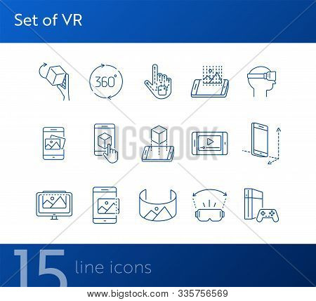 Set Of Vr Icons. Man In Vr Glasses, 3d Screen, Robotic Hand. Virtual Reality Concept. Vector Illustr