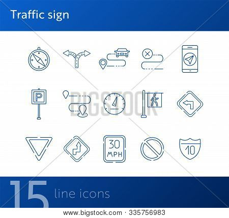 Traffic Sign Line Icons. Route, Destination, Yield Ahead. Road Sign Concept. Vector Illustration Can