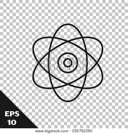 Black Line Atom Icon Isolated On Transparent Background. Symbol Of Science, Education, Nuclear Physi