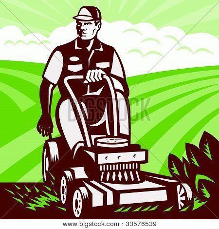 Gardener Landscaper Riding Lawn Mower Retro