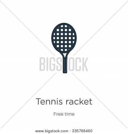Tennis Racket Icon Vector. Trendy Flat Tennis Racket Icon From Free Time Collection Isolated On Whit