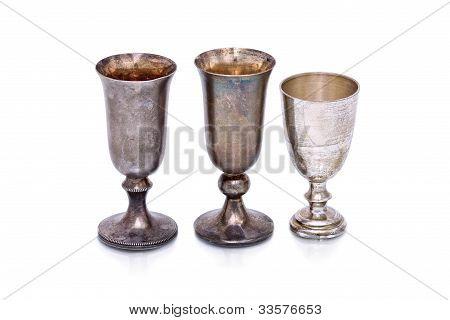 3 Vintage Silver Plated Goblets