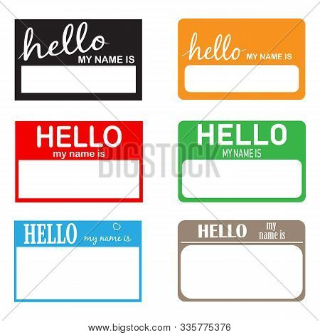 Hello My Name Icon On White Background. Flat Style. Introduction Banner For Your Web Site Design, Lo