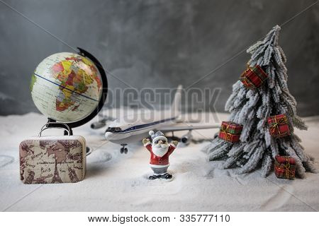 Merry Christmas And Happy New Years Travel Concept Background For Winter Trip On Wood Background , T