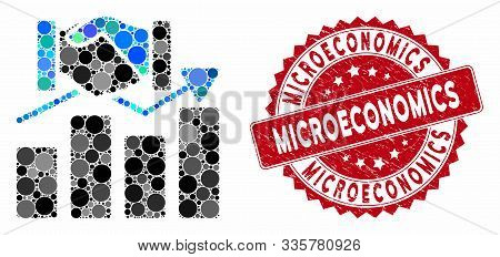 Mosaic Acquisition Graph And Grunge Stamp Seal With Microeconomics Caption. Mosaic Vector Is Compose