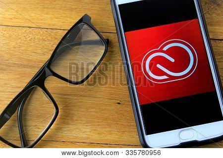 Rio De Janeiro, Brazil - November 23, 2019: Adobe Creative Cloud Logo On Mobile Phone Screen. It Is