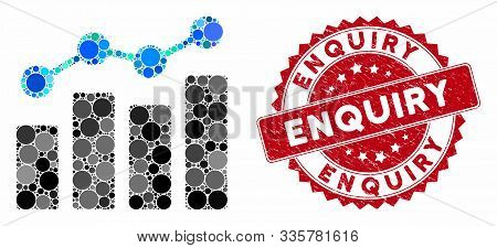 Mosaic Analytics And Rubber Stamp Seal With Enquiry Caption. Mosaic Vector Is Formed With Analytics