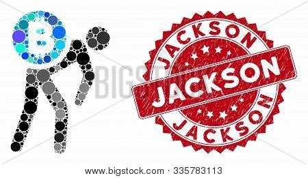 Mosaic Bitcoin Courier Man And Distressed Stamp Seal With Jackson Text. Mosaic Vector Is Composed Wi