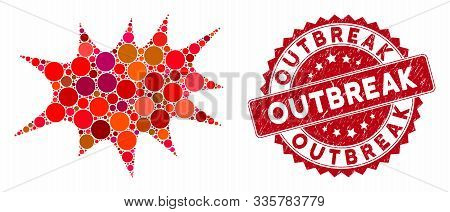 Mosaic Boom Bang And Rubber Stamp Seal With Outbreak Caption. Mosaic Vector Is Composed With Boom Ba